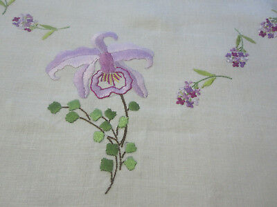 Vintage linen tablecloth square embroidered w orchids violets