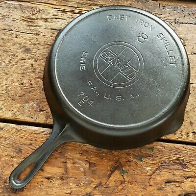 Antique  GRISWOLD Cast Iron SKILLET Frying Pan # 8 LARGE SLANT LOGO - crack