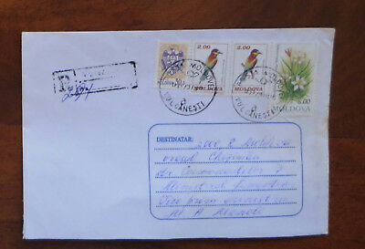 Moldova - 1997 Registered Cover with Bird & Flower Stamps