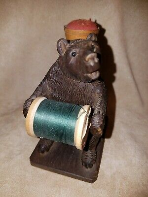 Antique Hand Carved Wood Black Forest Bear Pin Cushion, Sewing Stand, Spool
