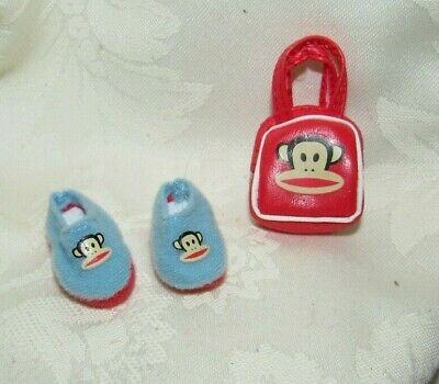 Barbie Paul Frank Blue Monkey Slippers Shoes Purse Fashion Lot For Doll