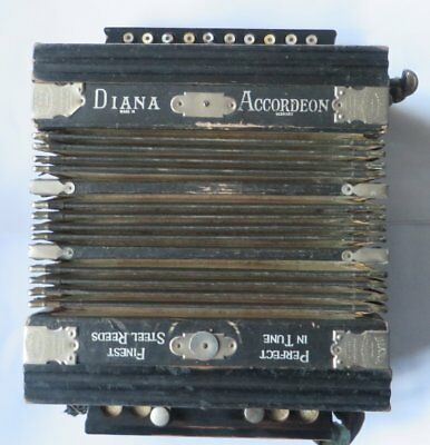 Working Antique Diana Accordion Finest Steel Reeds Made in Germany Vintage
