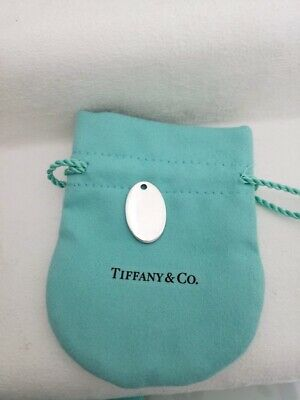 Tiffany & Co. Sterling Silver 925 Small Oval  Plain Engravable Tag Pendant