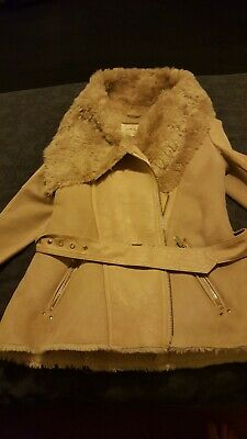 Ladies River Island Faux Fur Suede Look Beige Fitted Belted Jacket/Coat Size 8