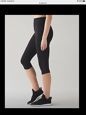 69073255078c5 Lululemon Womens Cropped Athletic Leggings Black align or pace full luon  Size 6