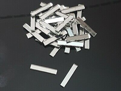 100 pieces, Silver Glass Mirror Tile, Approx 3 x 0.5 cm, 2 mm Thick, Art&Craft