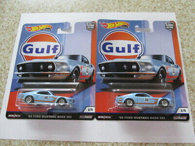 Set(2)Hot Wheels Car Culture Gulf Series '69 Ford Mustang Boss 302 W/real Riders