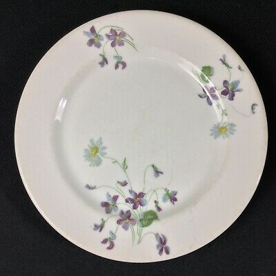 "Syracuse O.P.Co. Violets & Daisies CB & Q Railroad ONE 9"" Dinner Plate"