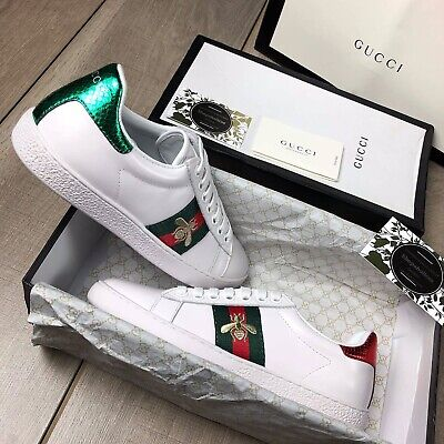 ed6b8b578b2 GUCCI ACE BEE Embroidered Leather Trainers Brand New - £150.00 ...