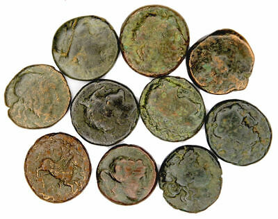 Group of 10 Larger Ancient Greek Bronze Coins (07)