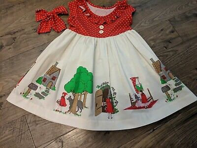 eabe8e0e06d EUC Eleanor Rose Little Red Riding Hood Heather Dress with Hairbow Size 4-5