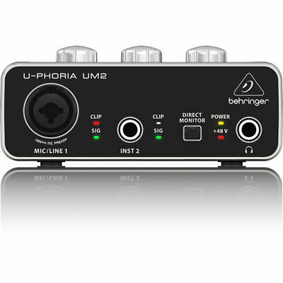 Behringer U-PHORIA UM2 2x2 USB Audio Interface UM-2 UM 2 w/ 48V Phantom Power