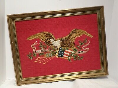 Vintage American U S  Eagle and Flag Needlepoint Completed Finished  Framed Red