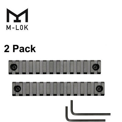 2PCS MLOK M-Lok 13 Slots Picatinny/Weaver Rail Handguard Section Aluminum Black