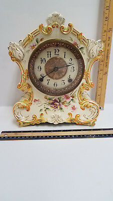 Antique Ansonia - Topeka Porcelain Mantle-Shelf Clock - Beautiful
