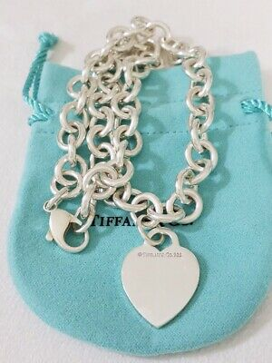 Tiffany & Co Sterling Silver Heart Tag Charm pendant Choker Necklace