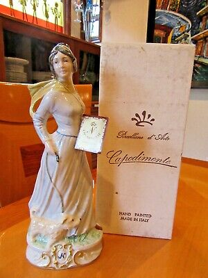 N Capodimonte Porcellane d' Arte Lady Walking Her Dog Figurine Italy Signed