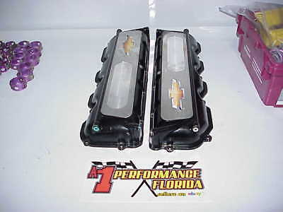 2 GM Bowtie Aluminum Valve Covers with Oiler Provisions for Chevy R07 Heads
