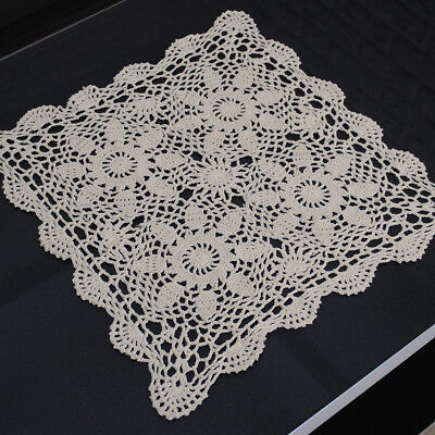 Ecru Vintage Hand Crochet Lace Doily Square Table Topper Small Tablecloth 15inch
