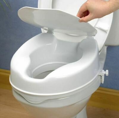 Toilet Seat Raiser with Lid - Raised Toilet Seat With Lid Cover - 100mm 10cm