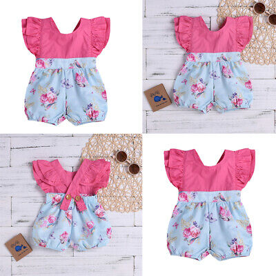 Newborn Baby Girl Ruffle Jumpsuit Romper Bodysuit One Piece Clothes Outfit 0-18M