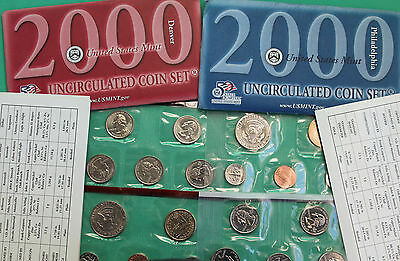 2000 P and D US Mint ANNUAL Uncirculated 20 Coin Set BU Coins COA and Envelope