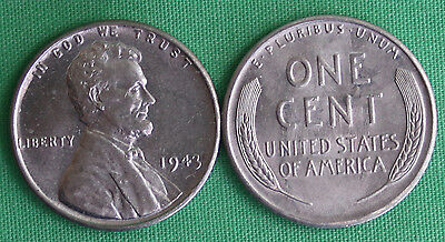 1943 Uncirculated STEEL Lincoln Wheat Cent BU Penny One-Cent Wheat Back Coin