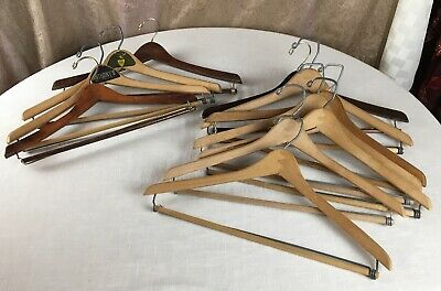 11 Wooden Suit Hangers Locking Trouser Bar Vintage Some Advertising & Wishbone