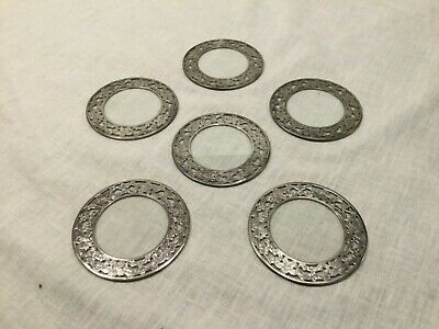 Antique Webster Sterling Silver Ornate Etched Floral Glass Drink Coaster 6 Set