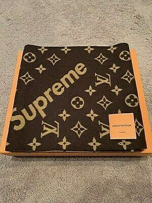 a4bec60b609 Louis Vuitton X Supreme Brown Monogram Cashmere Scarf Very Rare Collector  Piece