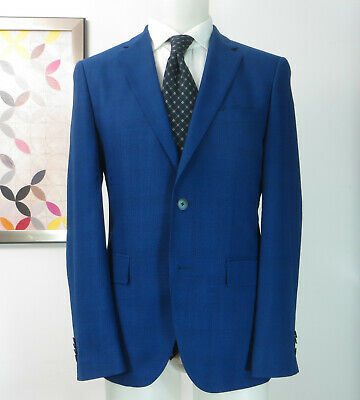 caf8f1244 Hugo Boss Current Wool 100'S blue plaid sports coat jacket blazer ...