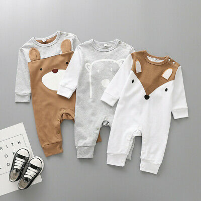 Cute Newborn Infant Baby Boy Girl Cartoon Animal Cotton Romper Jumpsuit Outfits