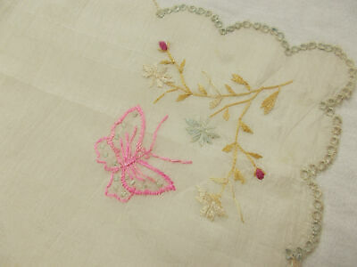 Vintage Antique HAND EMBROIDERED off white PINK BUTTERFLY SOCIETY SILK Hanky