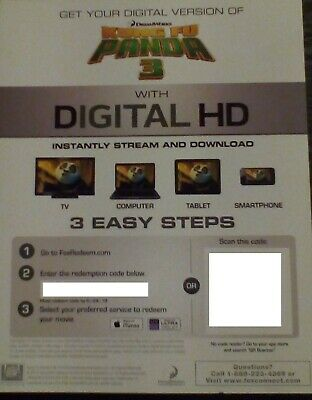 Kung Fu Panda 3 (Digital HD Code) REDEMPTION CERTIFICATE ONLY Emailed