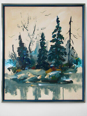 1975 Signed Cedrick Modernist Abstract Forest Landscape Oil Painting Eames Era