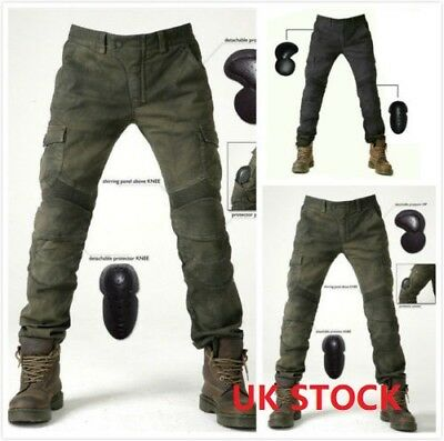 Cool Men Fitted Motorcycle Jeans Motorbike Pants Denim Trousers Off Road Pad New