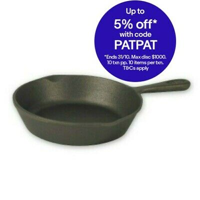 NEW Skillet Grill Fry Frying Pan Cast Iron Round Plain Camping 26.5cm