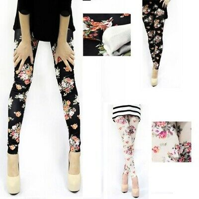 Women Jeans Look Roses Floral Tights soft Stretchy Pants Sexy Pencil Jeggings