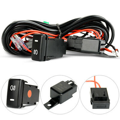 40A Wiring Loom Harness Relay Fuse Kit with Toyota Push Switch For LED Light Bar