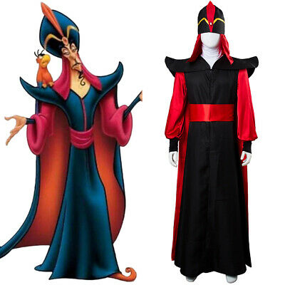 Aladdin The Return of Jafar Robe Cape Cloak Hat Wizard Costume Cosplay Outfit