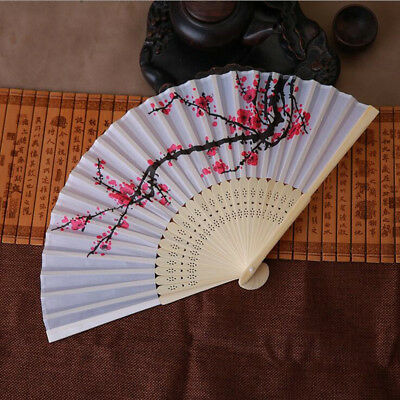 Vintage Bamboo Folding Hand Held Flower Fan Chinese Dance Party Pocket Gift