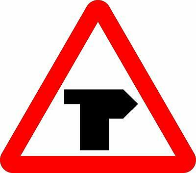 T-junction with priority over vehicles from the right. Road safety sign