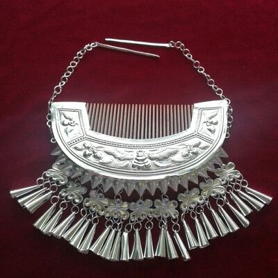 Tribal exotic chinese handmade miao silver comb