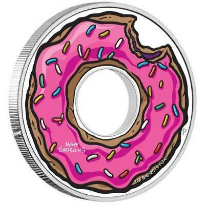 2019 Tuvalu $1 The Simpsons Donut 1oz Silver Proof Coloured Coin