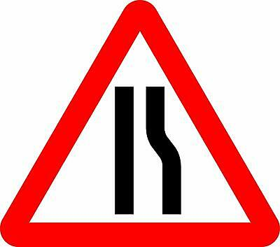 Road narrows on left Road safety sign