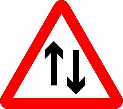 Two-way traffic straight ahead Road safety sign