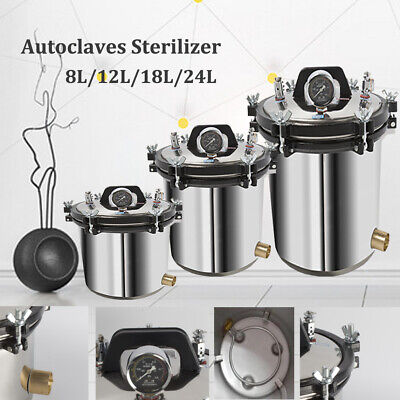 8/12/18/24L Stainless Steel Autoclaves Sterilizers Dental Medical Lab Equipment