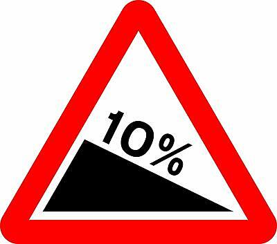 Steep hill downwards Road safety sign