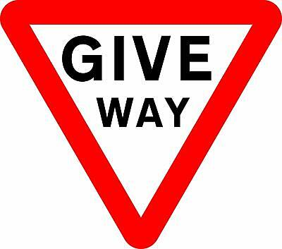 Give way to traffic on major road Road safety sign