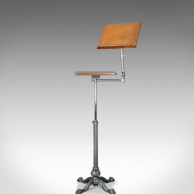 Antique Music Stand, Adjustable Reading Lectern Table, Leveson London, c1900